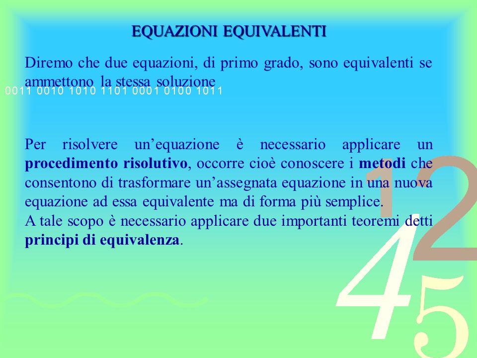 Principio di addizione Addizionando ad ambo i membri di una equazione uno stesso numero o una medesima espressione algebrica in x si ottiene una equazione equivalente alla data Esempio: 8x – 6 = 7x + 4 Applicando il 1° principio, aggiungiamo ad ambo i membri lespressione 6-7x 8x – 6 + 6 – 7x = 7x + 4 + 6 – 7x x = 10 Da tale principio ricaviamo: Regola del trasporto: Regola del trasporto: in una equazione è sempre possibile trasportare un termine qualunque da un membro allaltro cambiandone il segno Regola della cancellazione: Regola della cancellazione: se uno stesso termine figura nei due membri di una equazione, può essere eliminato
