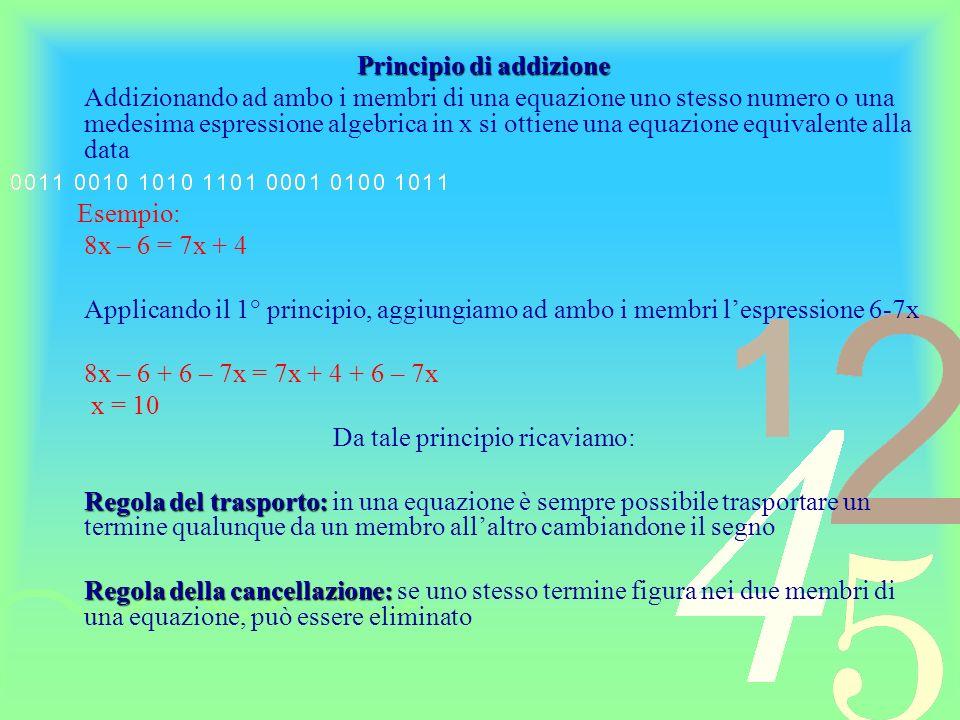 Principio di moltiplicazione e divisione – Moltiplicando o dividendo ambo i membri di una equazione per uno stesso numero diverso da zero o per una stessa espressione algebrica contenente lincognita, si ottiene una equazione equivalente alla data Esempio: 8x = -16 Applicando il 2° principio, dividendo ambo i membri per 8 0: 8x : 8 = – 16 : 8 x = – 2 Da tale principio ricaviamo: Regola del cambiamento di segno: – Regola del cambiamento di segno: cambiando il segno a tutti i termini di una equazione se ne ottiene unaltra equivalente alla data Regola della soppressione dei denominatori numerici: – Regola della soppressione dei denominatori numerici: per trasformare una equazione dotata di denominatori numerici in unaltra equivalente, priva di denominatori, si moltiplicano ambo i membri dellequazione data per il m.c.m.