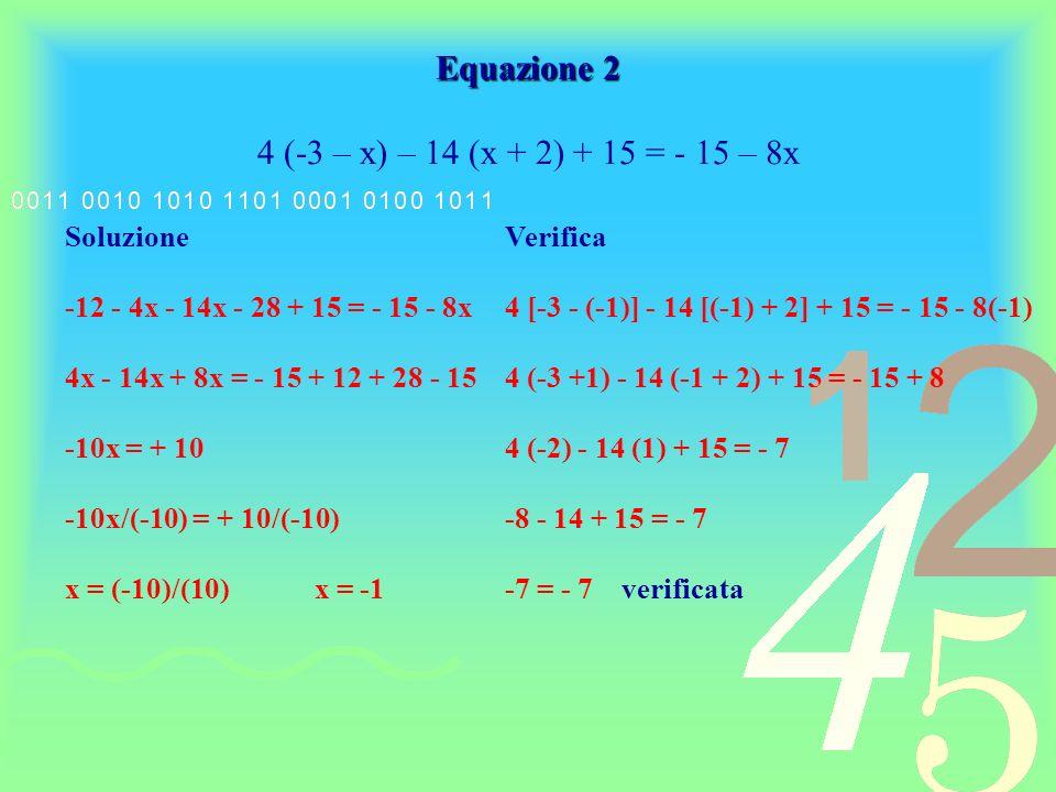 Vediamo ora qualche esempio di risoluzione di unequazione di I grado indeterminata: Equazione 3 4 (x – 5)² = (2x – 10)² Soluzione 4 (x – 5)² = (2x – 10)² 4 (x² - 10x + 25) = 4x² - 40x + 100 4x² - 40x + 100 = 4x² - 40x + 100 identità verificata per qualsiasi valore attribuito alla x oppure riprendendo da 4x² - 40x + 100 = 4x² - 40x + 100 e applicando la regola dellelisione si ottiene 0 = 0 quindi, anche in questo caso, indipendentemente dal valore attribuito allincognita lequazione è sempre verificata