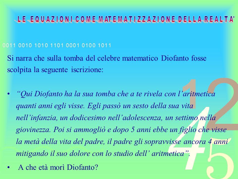 Dunque, dalla lettura del testo ciò che si vuole determinare è letà del nostro matematico Diofanto.