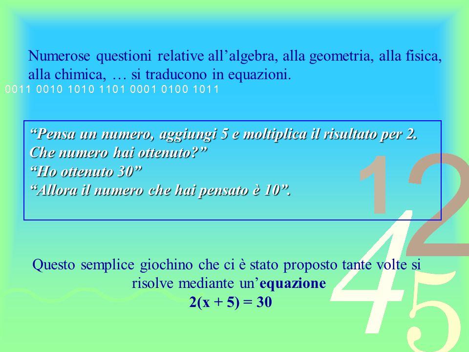 unuguaglianza unuguaglianza Si chiama equazione algebrica unuguaglianza fra due espressioni algebriche, in una o più variabili, che risulti verificata solo per particolari valori attribuiti alle variabili che in essa figurano.unuguaglianza Unequazione algebrica, in una sola variabile, si dirà di primo grado se la variabile che in essa figura è di primo grado.