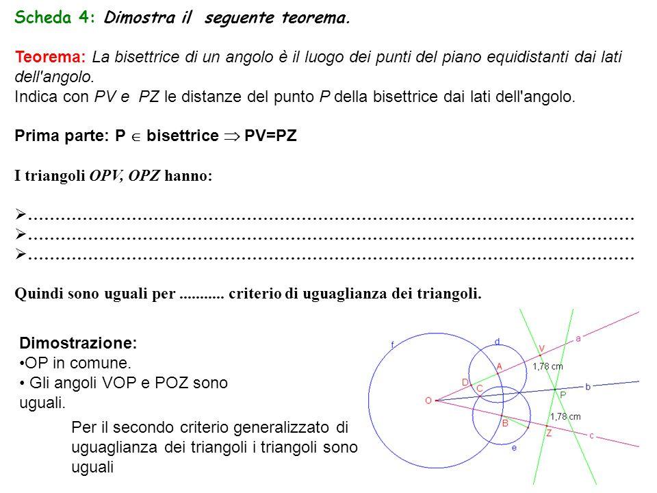 Scheda 4: Dimostra il seguente teorema. Teorema: La bisettrice di un angolo è il luogo dei punti del piano equidistanti dai lati dell'angolo. Indica c