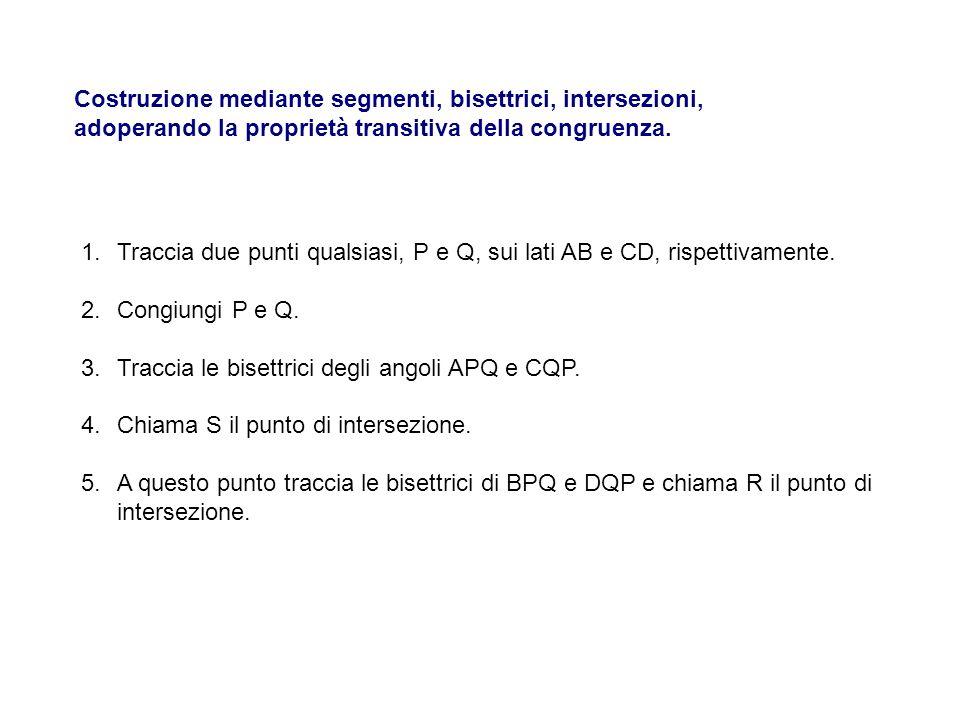Costruzione mediante segmenti, bisettrici, intersezioni, adoperando la proprietà transitiva della congruenza. 1.Traccia due punti qualsiasi, P e Q, su
