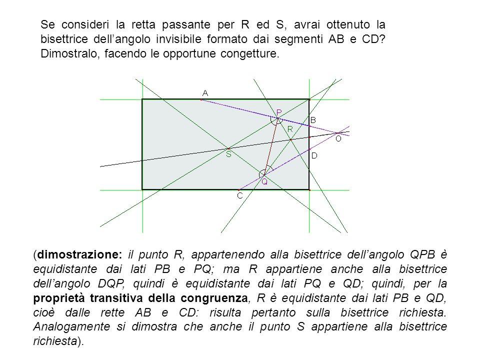 Se consideri la retta passante per R ed S, avrai ottenuto la bisettrice dellangolo invisibile formato dai segmenti AB e CD? Dimostralo, facendo le opp