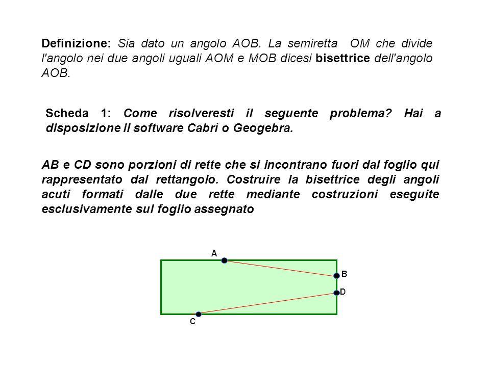 Definizione: Sia dato un angolo AOB. La semiretta OM che divide l'angolo nei due angoli uguali AOM e MOB dicesi bisettrice dell'angolo AOB. Scheda 1: