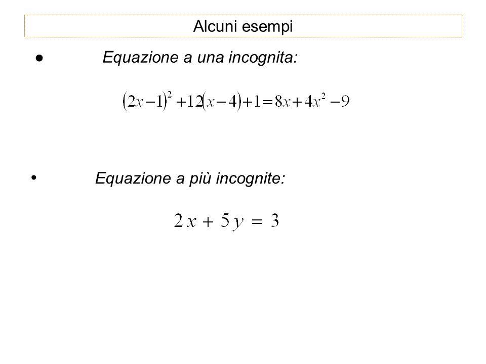 Alcuni esempi Equazione a una incognita: Equazione a più incognite: