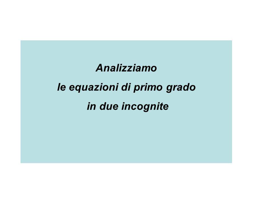 Analizziamo le equazioni di primo grado in due incognite