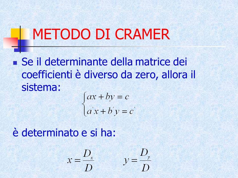 METODO DI CRAMER Se il determinante della matrice dei coefficienti è diverso da zero, allora il sistema: è determinato e si ha: