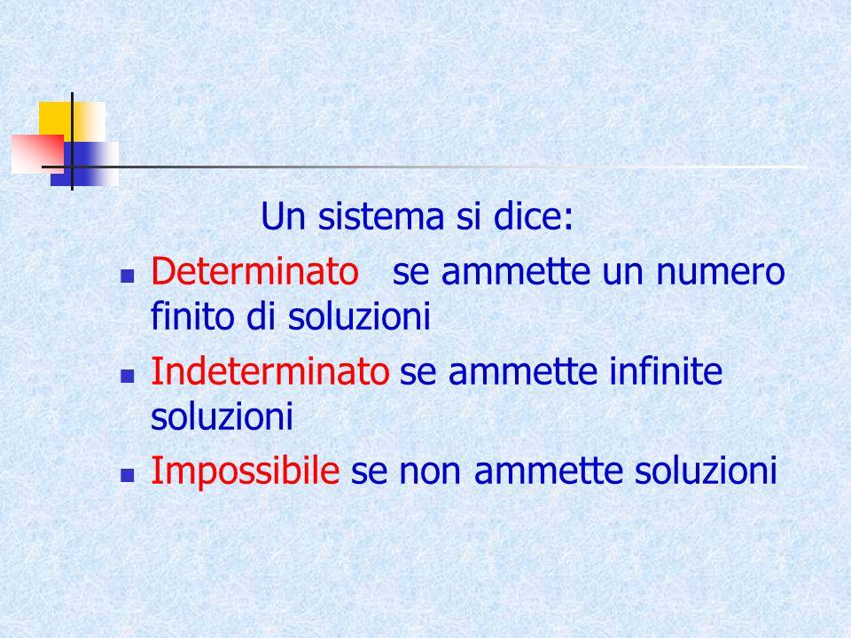 Un sistema si dice: Determinato se ammette un numero finito di soluzioni Indeterminato se ammette infinite soluzioni Impossibile se non ammette soluzi