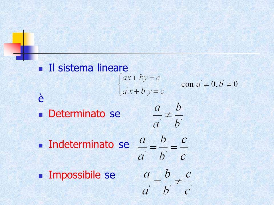 Il sistema lineare è Determinato se Indeterminato se Impossibile se