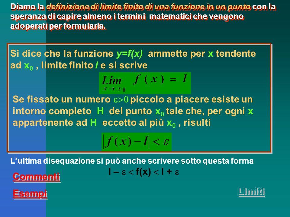 Prendiamo in considerazione una funzione di cui riusciamo a calcolarci il valore: Il suo dominio è formato da tutti i numeri reali diversi 1.