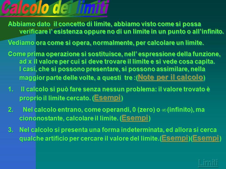 Utilità dei limiti nello studio di funzione Dopo aver dato le varie definizioni di limite, vediamo a cosa servono ilimiti nello studio di funzioni. Es