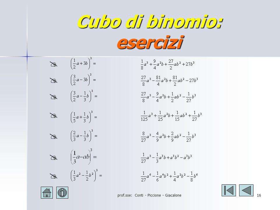 prof.sse: Conti - Piccione - Giacalone15 Cubo di binomio: esercizi (2a + 1) 3 = (2a + 1) 3 = (3a - b) 3 = (3a - b) 3 = (-2x - 3y) 3 = (-2x - 3y) 3 = (a 2 + 3b) 3 = (a 2 + 3b) 3 = (a - 3b) 3 = (a - 3b) 3 = (a 2 + 2b 2 ) 3 = (a 2 + 2b 2 ) 3 = (3a 3 - 2b 2 ) 3 = (3a 3 - 2b 2 ) 3 = (2ab - 3b) 3 = (2ab - 3b) 3 = 8a 3 +12a 2 +6a+1 27a 3 -27a 2 b+6ab 2 -b 3 -8x 3 -36x 2 y-54xy 2 -27y 3 a 6 +9a 4 b+27a 2 b 2 +27b 3 8a 3 -36a 2 b+54ab 2 -27b 3 a 6 +6a 4 b 2 +12a 2 b 4 +8b 6 27a 9 -54a 6 b 2 +36a 3 b 4 -8b 6 8a 2 b 2 -36a 2 b 3 +54ab 3 -27b 3