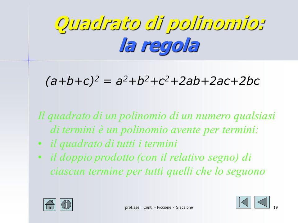 prof.sse: Conti - Piccione - Giacalone18 Quadrato di polinomio: significato algebrico (a+b+c) 2 = (a+b+c) (a+b+c) = = a 2 +ab+ac+ab+b 2 +bc+ac+bc+c 2 = = a 2 + b 2 + c 2 +2ab + 2ac + 2bc