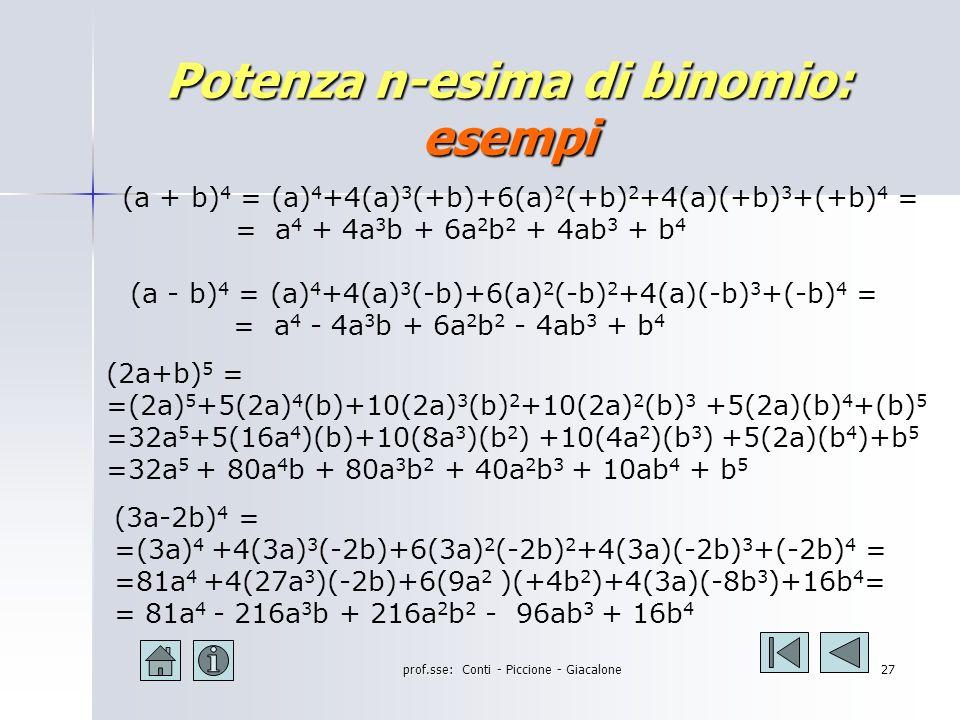 prof.sse: Conti - Piccione - Giacalone26 Potenza n-esima di binomio: la regola (a+b) n = a n +na n-1 b + …….