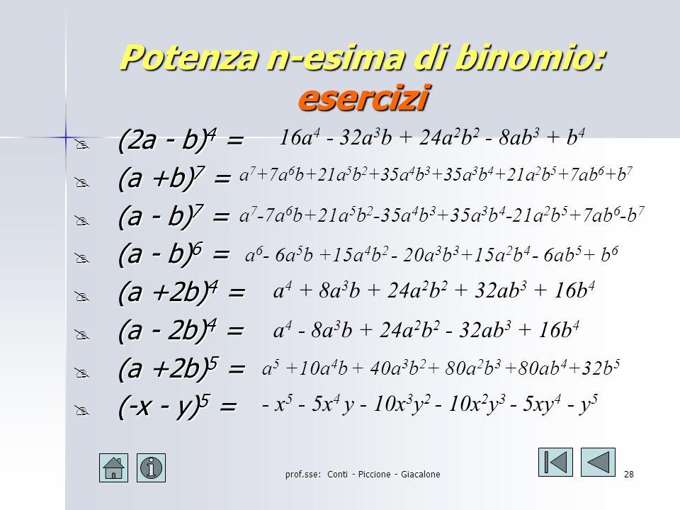 prof.sse: Conti - Piccione - Giacalone27 Potenza n-esima di binomio: esempi (2a+b) 5 = =(2a) 5 +5(2a) 4 (b)+10(2a) 3 (b) 2 +10(2a) 2 (b) 3 +5(2a)(b) 4 +(b) 5 =32a 5 +5(16a 4 )(b)+10(8a 3 )(b 2 ) +10(4a 2 )(b 3 ) +5(2a)(b 4 )+b 5 =32a 5 + 80a 4 b + 80a 3 b 2 + 40a 2 b 3 + 10ab 4 + b 5 (a - b) 4 = (a) 4 +4(a) 3 (-b)+6(a) 2 (-b) 2 +4(a)(-b) 3 +(-b) 4 = = a 4 - 4a 3 b + 6a 2 b 2 - 4ab 3 + b 4 (3a-2b) 4 = =(3a) 4 +4(3a) 3 (-2b)+6(3a) 2 (-2b) 2 +4(3a)(-2b) 3 +(-2b) 4 = =81a 4 +4(27a 3 )(-2b)+6(9a 2 )(+4b 2 )+4(3a)(-8b 3 )+16b 4 = = 81a 4 - 216a 3 b + 216a 2 b 2 - 96ab 3 + 16b 4 (a + b) 4 = (a) 4 +4(a) 3 (+b)+6(a) 2 (+b) 2 +4(a)(+b) 3 +(+b) 4 = = a 4 + 4a 3 b + 6a 2 b 2 + 4ab 3 + b 4
