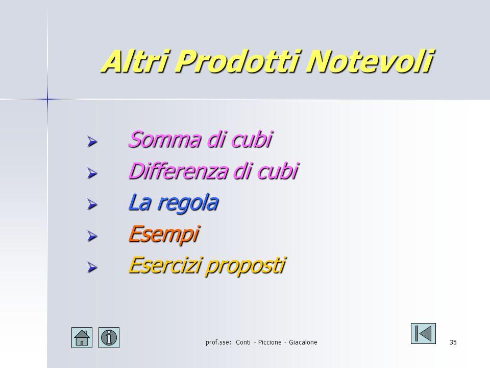 prof.sse: Conti - Piccione - Giacalone34 Somma per differenza: esercizi [(a+b) - 1] [(a+b) +1] =(a+b) 2 - 1