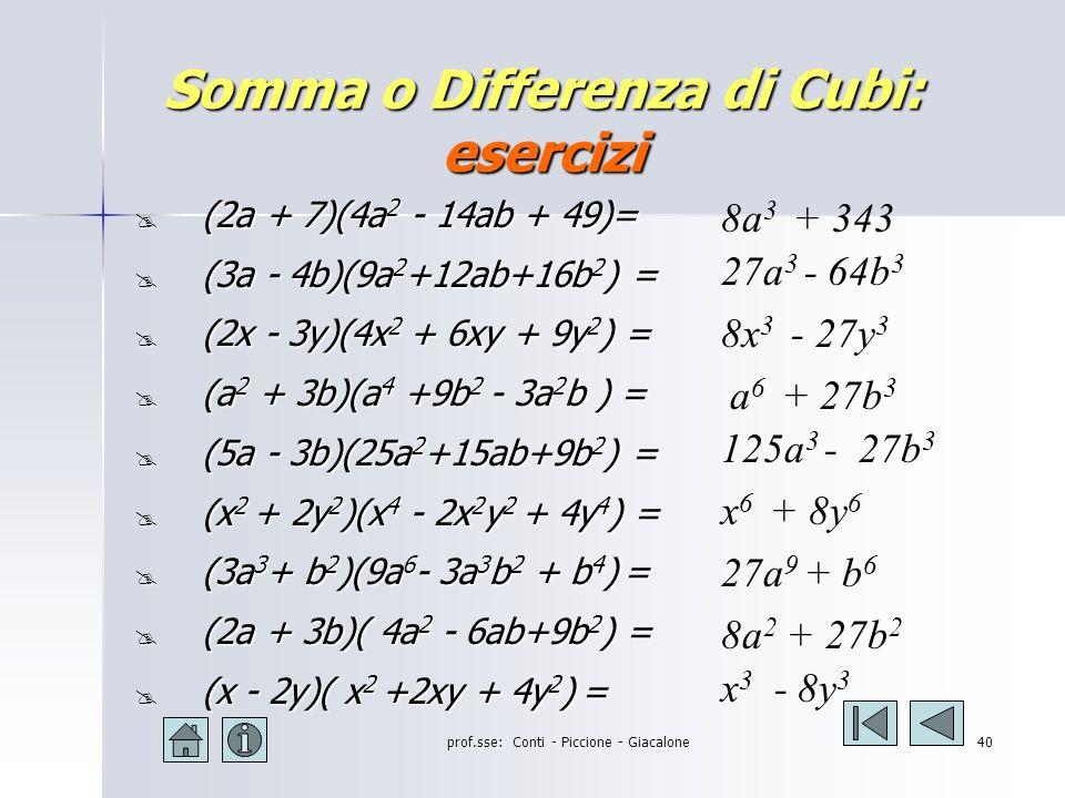 prof.sse: Conti - Piccione - Giacalone39 Somma o Differenza di Cubi: esempi (2a + b)(4a 2 - 2ab + b 2 ) = (2a) 3 + (b) 3 = 8a 3 + b 3 (2a - b)(4a 2 + 2ab + b 2 ) = (2a) 3 - (b) 3 = 8a 3 - b 3 (3a+2b)(9a 2 - 6ab +4b 2 )= (3a) 3 + (2b) 3 = 27a 3 + 8b 3 (3a - 2b)(9a 2 + 6ab +4b 2 )= (3a) 3 - (2b) 3 = 27a 3 - 8b 3