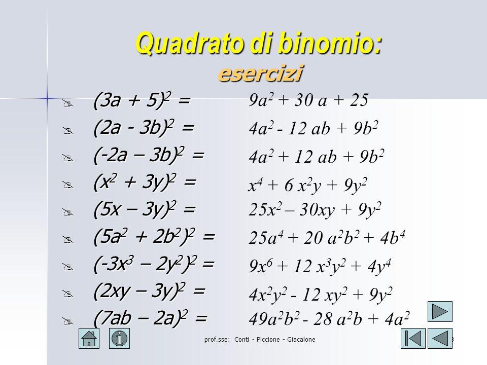 prof.sse: Conti - Piccione - Giacalone7 Quadrato di binomio: esempi (2a+b) 2 = (2a) 2 +2(2a)(+b)+(+b) 2 = 4a 2 + 4ab + b 2 (2a - b) 2 = (2a) 2 +2(2a)(-b)+(-b) 2 = 4a 2 - 4ab + b 2 (3a+2b) 2 = (3a) 2 +2(3a)(+2b) +(+2b) 2 = 9a 2 +12ab +4b 2 (3a -2b) 2 = (3a) 2 +2(3a)(-2b) +(-2b) 2 = 9a 2 - 12ab +4b 2 (-3a -2b) 2 = (-3a) 2 +2(-3a)(-2b)+(-2b) 2 = 9a 2 +12ab +4b 2 (-3a+2b) 2 = (-3a) 2 +2(-3a)(+2b)+(+2b) 2 = 9a 2 -12ab+4b 2