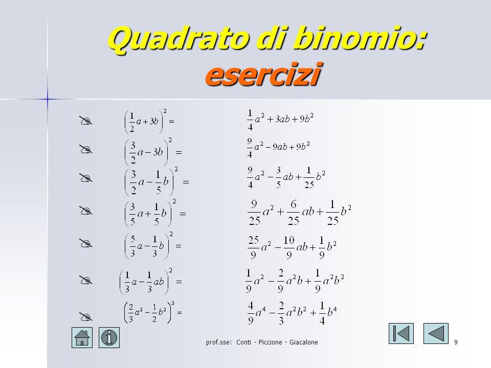 prof.sse: Conti - Piccione - Giacalone8 Quadrato di binomio: esercizi (3a + 5) 2 = (3a + 5) 2 = (2a - 3b) 2 = (2a - 3b) 2 = (-2a – 3b) 2 = (-2a – 3b) 2 = (x 2 + 3y) 2 = (x 2 + 3y) 2 = (5x – 3y) 2 = (5x – 3y) 2 = (5a 2 + 2b 2 ) 2 = (5a 2 + 2b 2 ) 2 = (-3x 3 – 2y 2 ) 2 = (-3x 3 – 2y 2 ) 2 = (2xy – 3y) 2 = (2xy – 3y) 2 = (7ab – 2a) 2 = (7ab – 2a) 2 = 9a 2 + 30 a + 25 4a 2 - 12 ab + 9b 2 4a 2 + 12 ab + 9b 2 x 4 + 6 x 2 y + 9y 2 25x 2 – 30xy + 9y 2 25a 4 + 20 a 2 b 2 + 4b 4 9x 6 + 12 x 3 y 2 + 4y 4 4x 2 y 2 - 12 xy 2 + 9y 2 49a 2 b 2 - 28 a 2 b + 4a 2