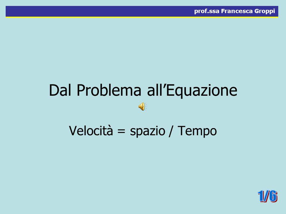 Dal Problema allEquazione Velocità = spazio / Tempo prof.ssa Francesca Groppi