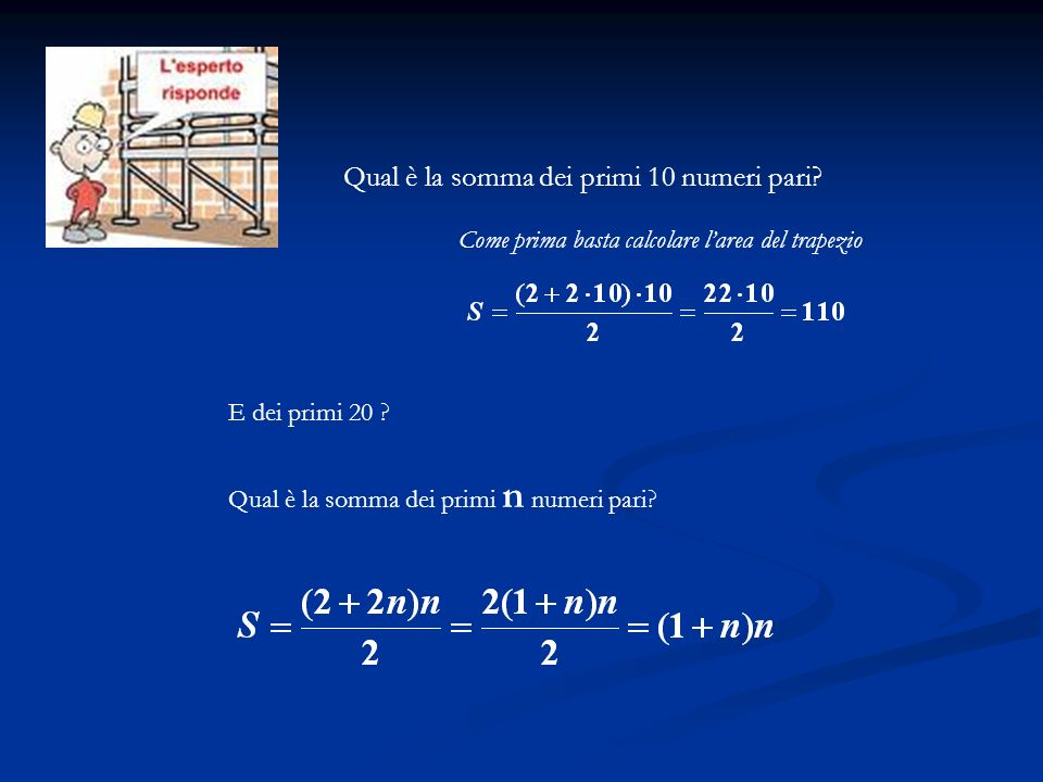 Qual è la somma dei primi 10 numeri pari? E dei primi 20 ? Qual è la somma dei primi n numeri pari? Come prima basta calcolare larea del trapezio