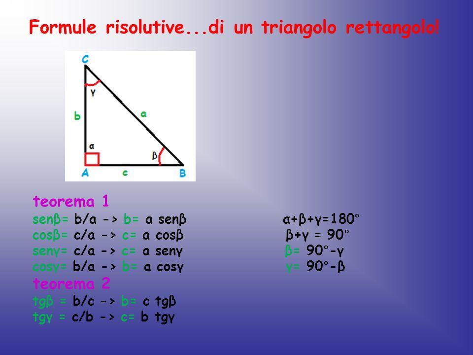 Formule risolutive...di un triangolo rettangolo! teorema 1 senβ= b/a -> b= a senβ α+β+γ=180° cosβ= c/a -> c= a cosβ β+γ = 90° senγ= c/a -> c= a senγ β