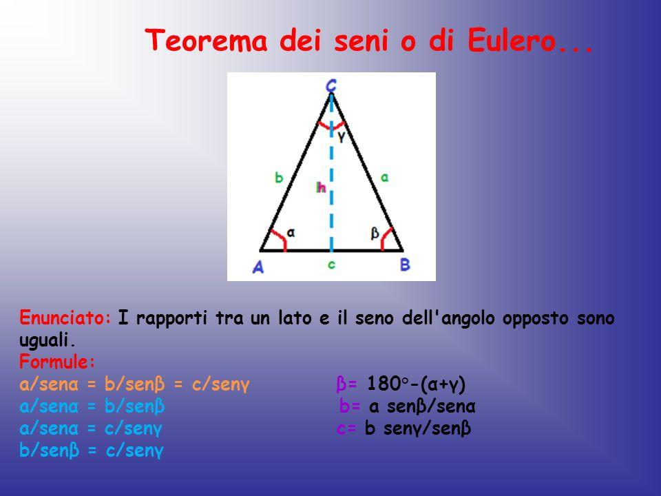 Teorema dei seni o di Eulero... Enunciato: I rapporti tra un lato e il seno dell'angolo opposto sono uguali. Formule: a/senα = b/senβ = c/senγ β= 180°