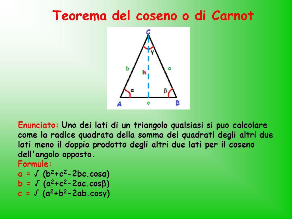 Teorema del coseno o di Carnot Enunciato: Uno dei lati di un triangolo qualsiasi si puo calcolare come la radice quadrata della somma dei quadrati deg