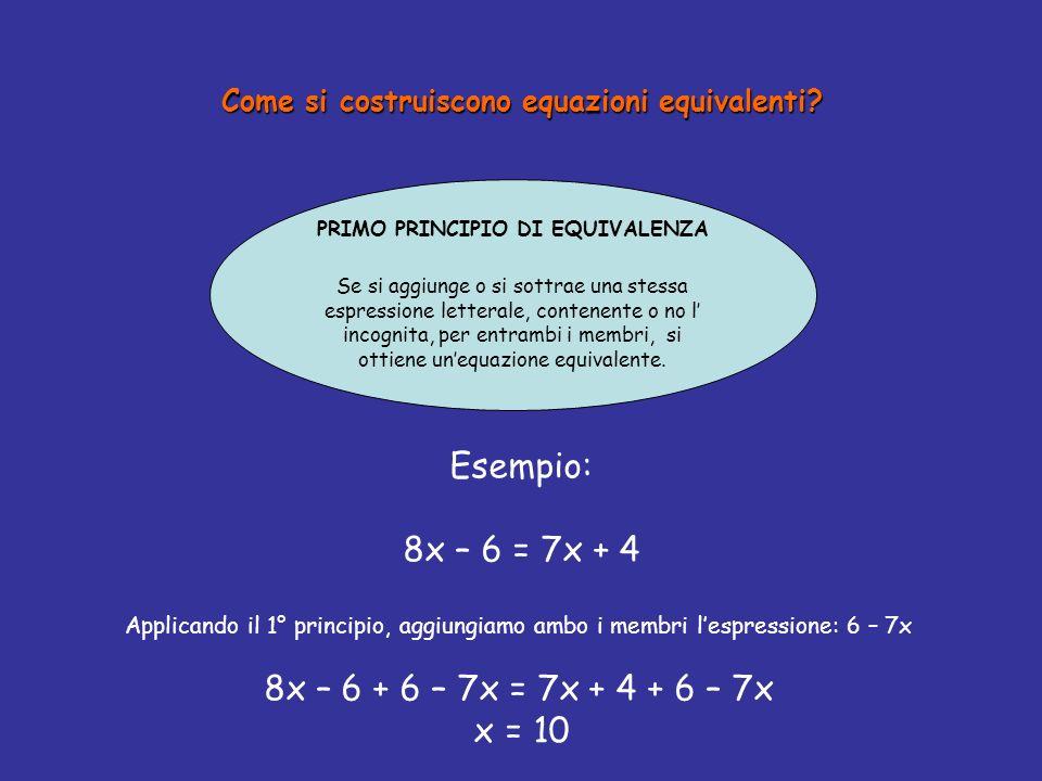 Come si costruiscono equazioni equivalenti.