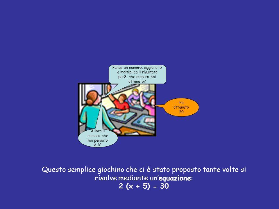 Diamo ora la definizione di equazione: equazione algebrica Si chiama equazione algebrica unuguaglianza fra due espressioni algebriche, in una o più variabili, che risulti verificata solo per particolari valori attribuiti alle variabili che in essa figurano.