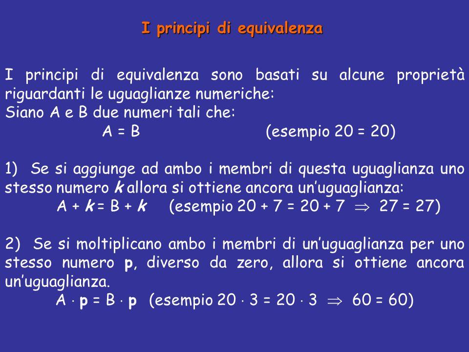 I principi di equivalenza sono basati su alcune proprietà riguardanti le uguaglianze numeriche: Siano A e B due numeri tali che: A = B (esempio 20 = 20) 1) Se si aggiunge ad ambo i membri di questa uguaglianza uno stesso numero k allora si ottiene ancora unuguaglianza: A + k = B + k (esempio 20 + 7 = 20 + 7 27 = 27) 2) Se si moltiplicano ambo i membri di unuguaglianza per uno stesso numero p, diverso da zero, allora si ottiene ancora unuguaglianza.