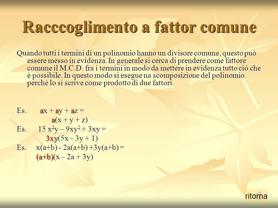 Racccoglimento a fattor comune Quando tutti i termini di un polinomio hanno un divisore comune, questo può essere messo in evidenza.