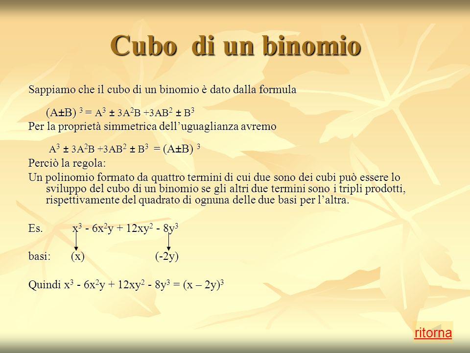 Cubo di un binomio Sappiamo che il cubo di un binomio è dato dalla formula (A±B) 3 = A 3 ± 3A 2 B +3AB 2 ± B 3 Per la proprietà simmetrica delluguaglianza avremo A 3 ± 3A 2 B +3AB 2 ± B 3 = (A±B) 3 Perciò la regola: Un polinomio formato da quattro termini di cui due sono dei cubi può essere lo sviluppo del cubo di un binomio se gli altri due termini sono i tripli prodotti, rispettivamente del quadrato di ognuna delle due basi per laltra.
