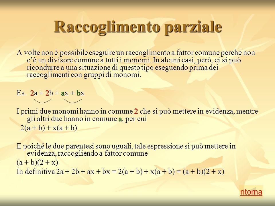 Raccoglimento parziale A volte non è possibile eseguire un raccoglimento a fattor comune perché non cè un divisore comune a tutti i monomi.