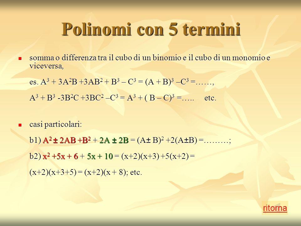 Polinomi con 5 termini somma o differenza tra il cubo di un binomio e il cubo di un monomio e viceversa, es.