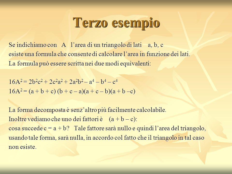 Quarto esempio Dato il polinomio P(n) = n 3 + 6n 2 + 11n + 6 quanto vale per n = - 3 .