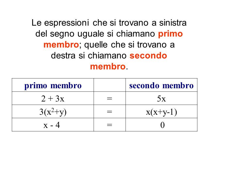Le espressioni che si trovano a sinistra del segno uguale si chiamano primo membro; quelle che si trovano a destra si chiamano secondo membro. primo m