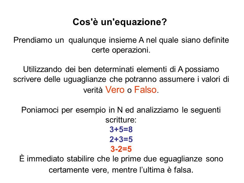 La situazione non è però così semplice se luguaglianza contiene delle variabili.