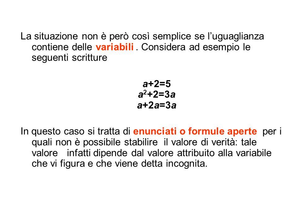 La situazione non è però così semplice se luguaglianza contiene delle variabili. Considera ad esempio le seguenti scritture a+2=5 a 2 +2=3a a+2a=3a In