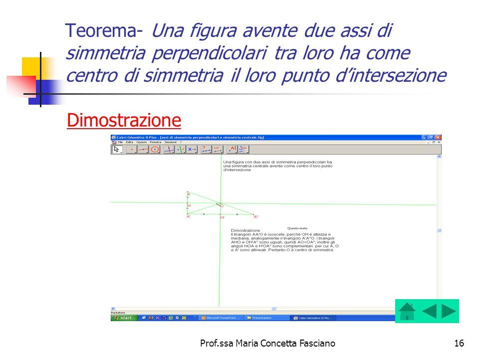 Prof.ssa Maria Concetta Fasciano16 Teorema- Una figura avente due assi di simmetria perpendicolari tra loro ha come centro di simmetria il loro punto