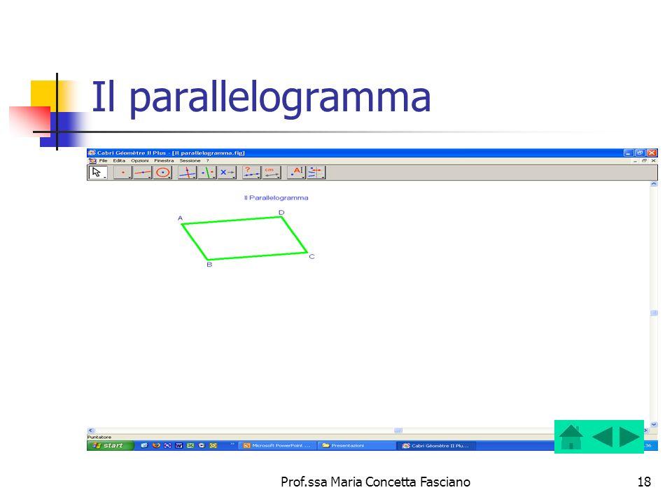 Prof.ssa Maria Concetta Fasciano18 Il parallelogramma