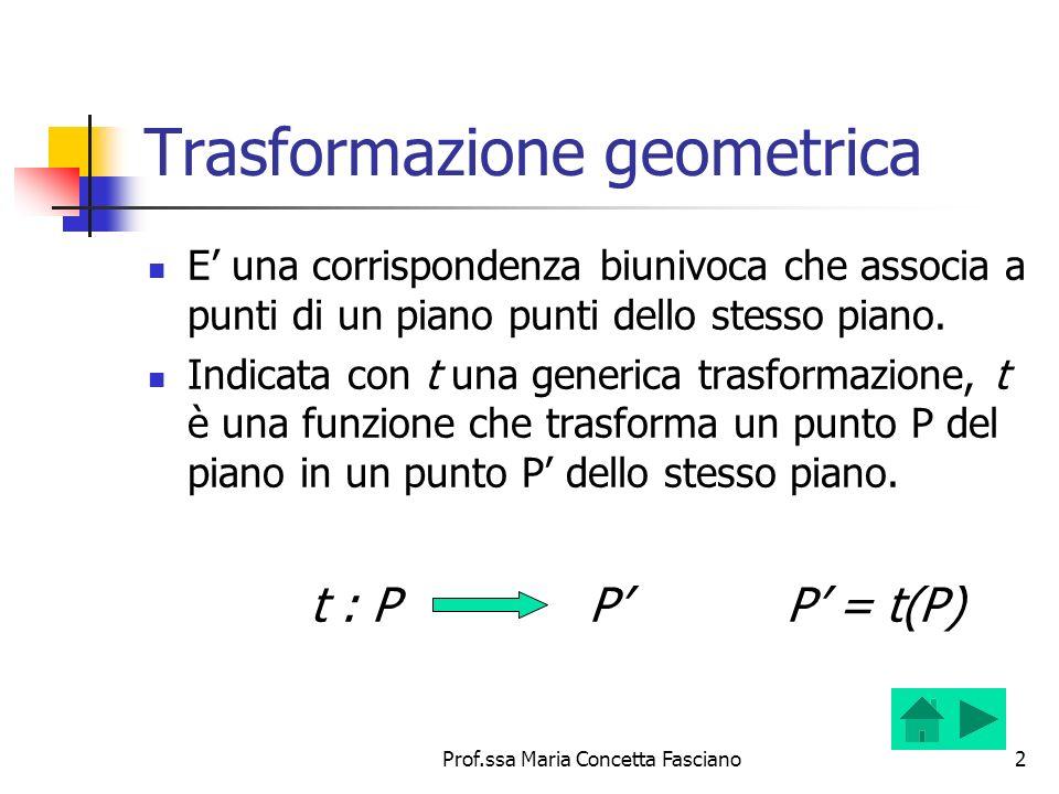 Prof.ssa Maria Concetta Fasciano2 Trasformazione geometrica E una corrispondenza biunivoca che associa a punti di un piano punti dello stesso piano. I