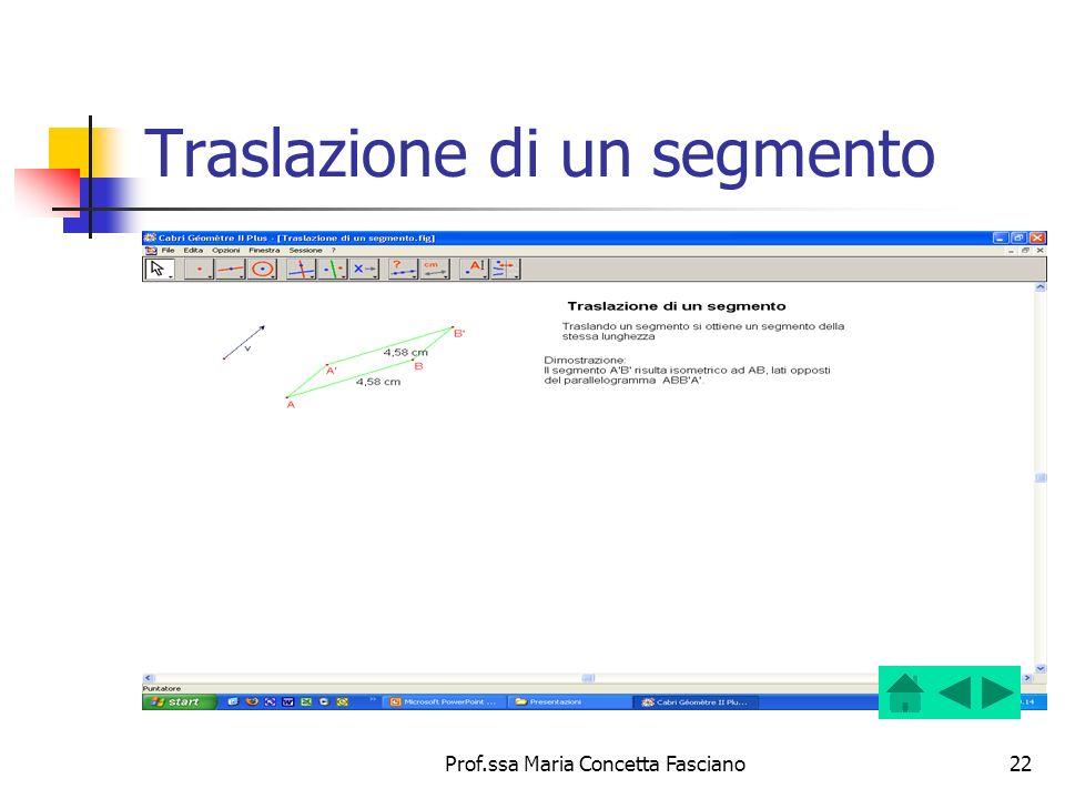 Prof.ssa Maria Concetta Fasciano22 Traslazione di un segmento