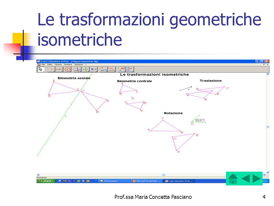 Prof.ssa Maria Concetta Fasciano15 Proprietà della simmetria centrale Trasforma: figure geometriche in figure geometriche congruenti; rette non passanti per il centro in rette parallele; rette passanti per il centro nelle stesse rette, per cui ogni retta per il centro è unita; il centro in se stesso, quindi è punto unito.