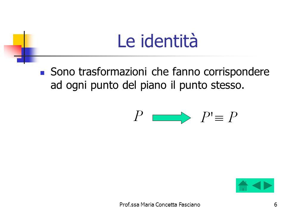 Prof.ssa Maria Concetta Fasciano7 Punti uniti e rette unite Punto unito, in una trasformazione che non è lidentità, è un punto che ha per corrispondente se stesso.