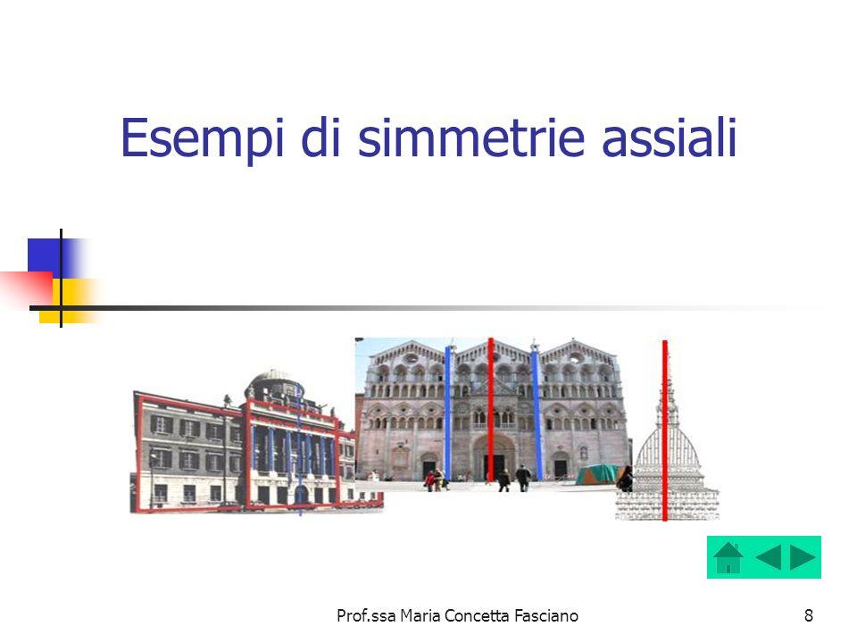 Prof.ssa Maria Concetta Fasciano8 Esempi di simmetrie assiali