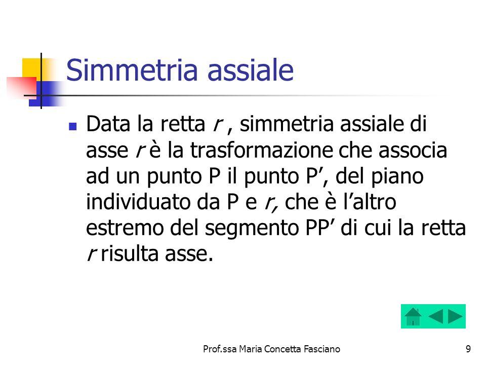 Prof.ssa Maria Concetta Fasciano9 Simmetria assiale Data la retta r, simmetria assiale di asse r è la trasformazione che associa ad un punto P il punt
