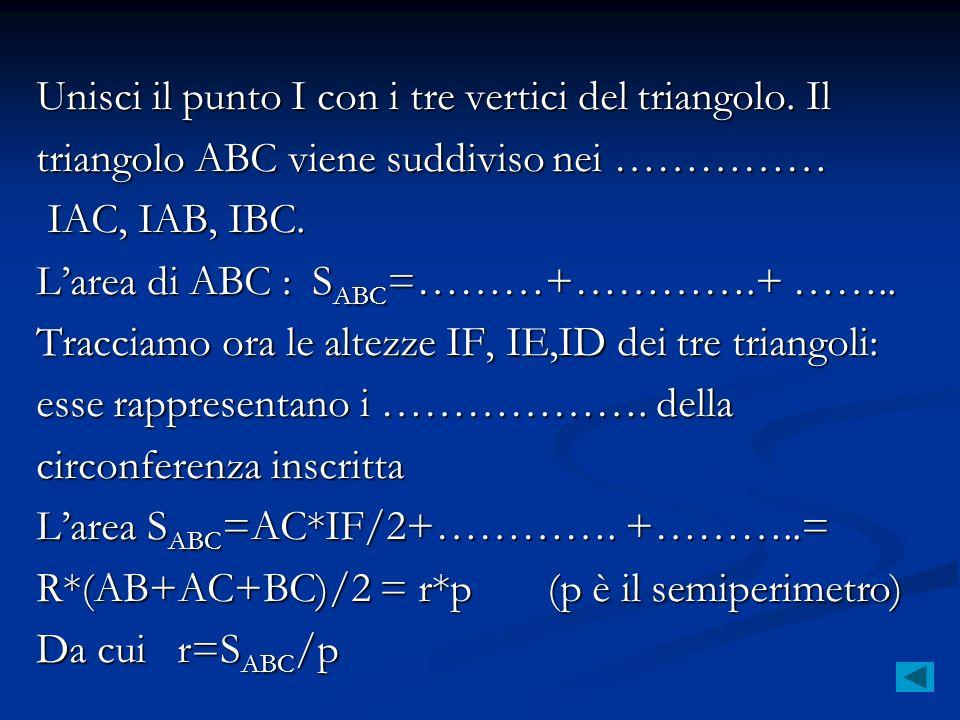 Unisci il punto I con i tre vertici del triangolo. Il triangolo ABC viene suddiviso nei …………… IAC, IAB, IBC. IAC, IAB, IBC. Larea di ABC : S ABC =………+
