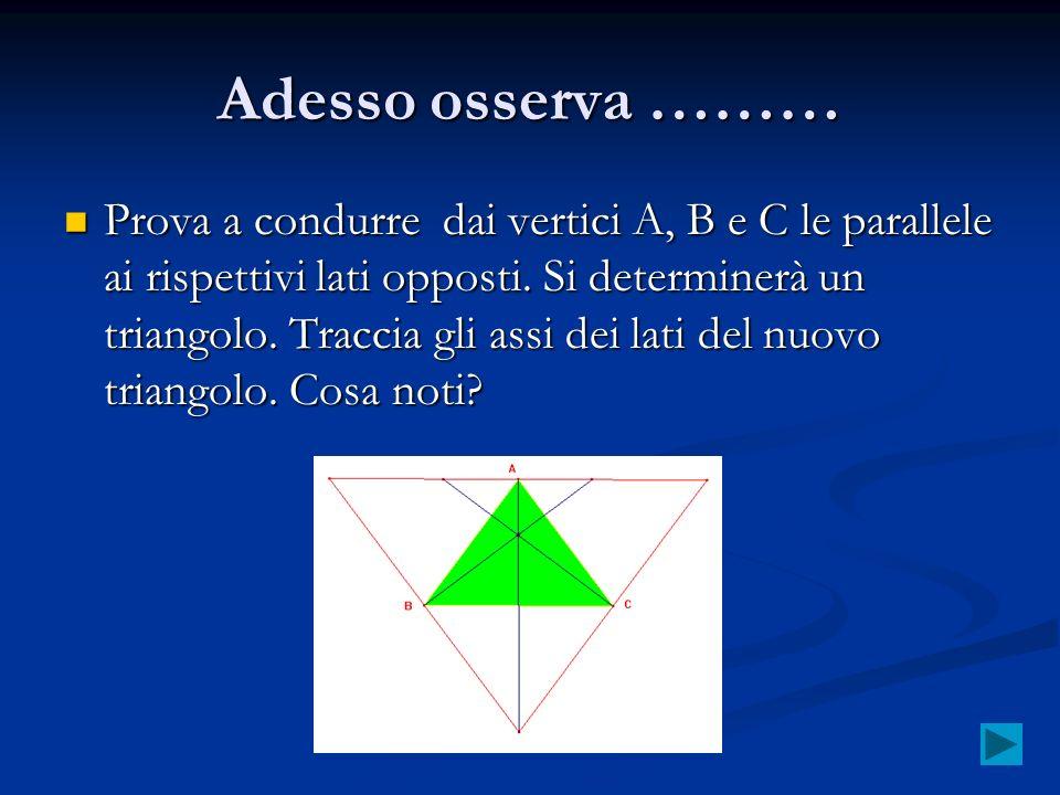 Adesso osserva ……… Prova a condurre dai vertici A, B e C le parallele ai rispettivi lati opposti. Si determinerà un triangolo. Traccia gli assi dei la